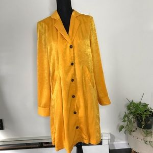 Free People yellow button down collared dress